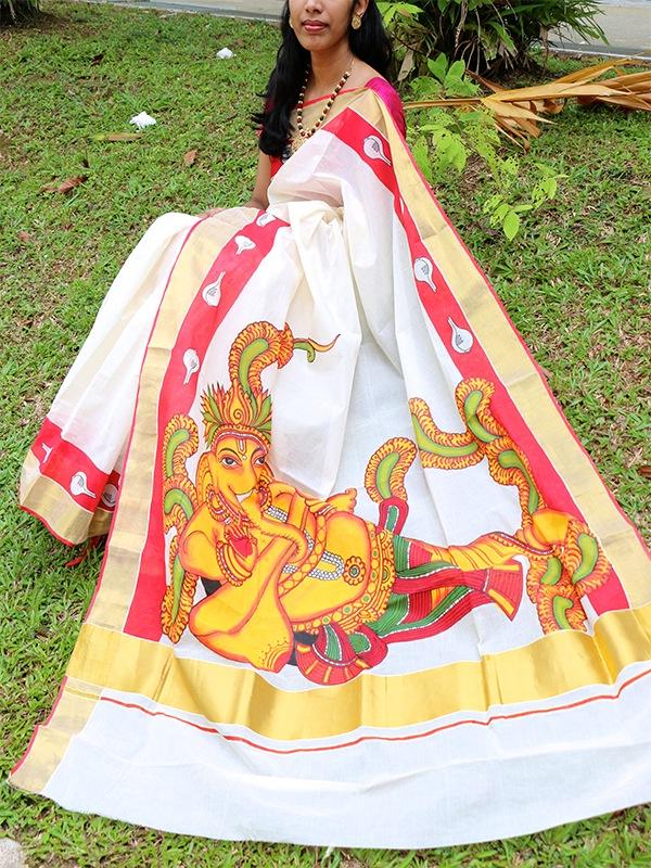 Kerala-saree-mural-ganapati
